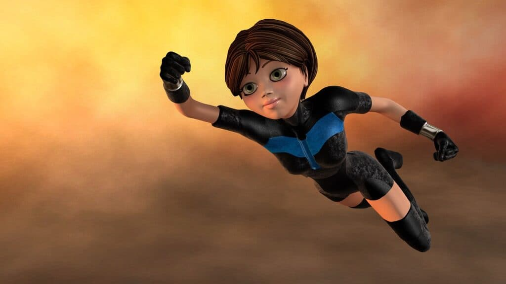 super woman, flying, 3d figure